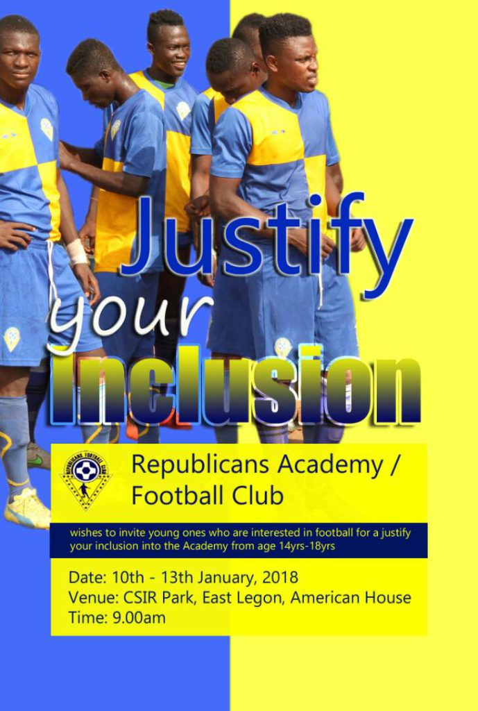 Division Two side Republic Academy set to start justify your inclusion on Wednesday