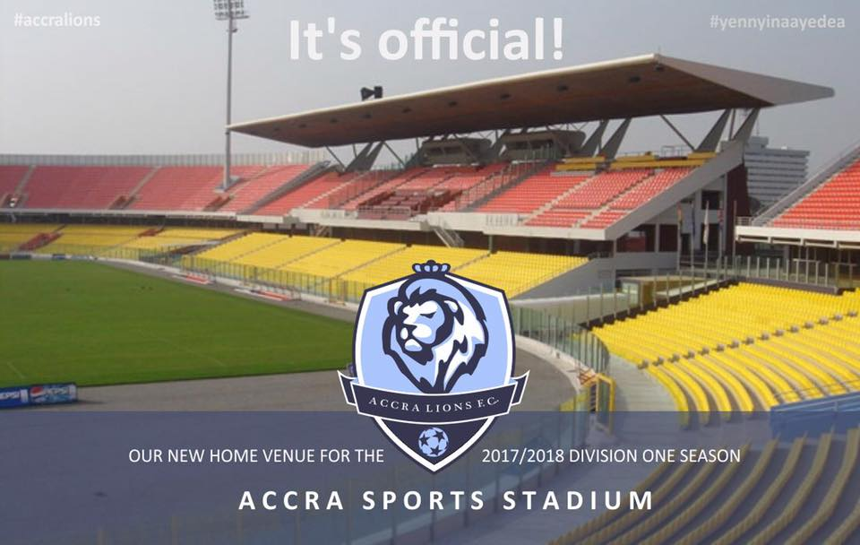 Accra Lions FC opts for Accra Sports Stadium as home ground for Division One League campaign