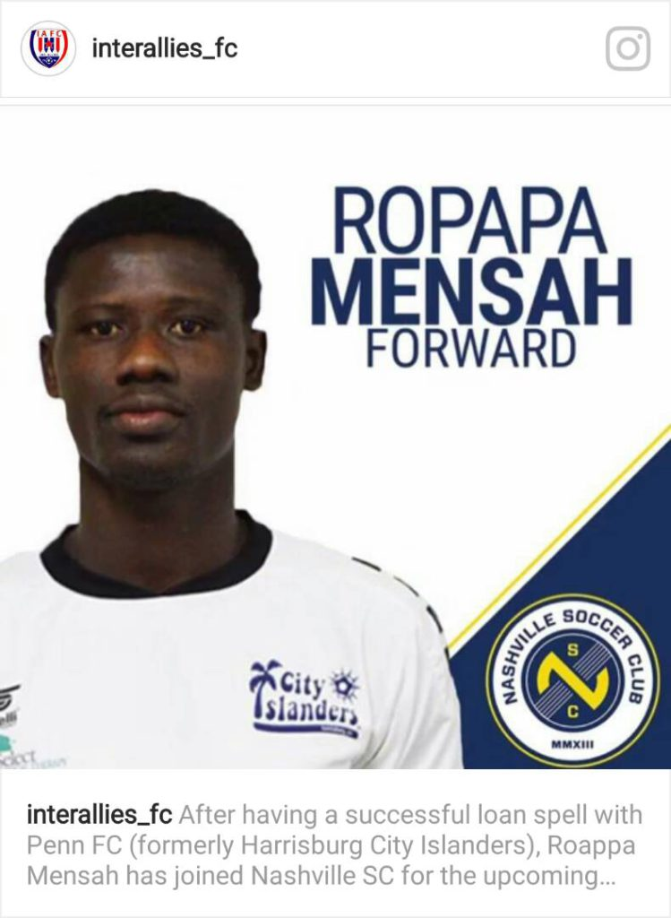 Former Inter Allies marksman Ropapa Mensah signs permanent deal with American side Nashville SC