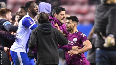 Sergio Aguero: Man City striker in altercation with fan after Wigan FA Cup defeat