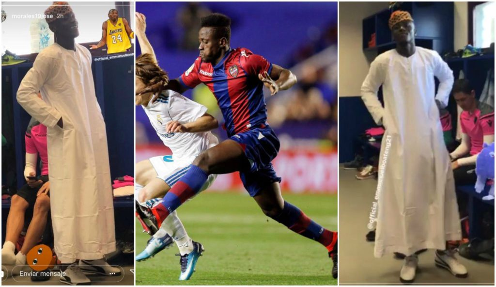 Emmanuel Boateng causes laughter in Levante locker room after showing up for training in Jalabiya