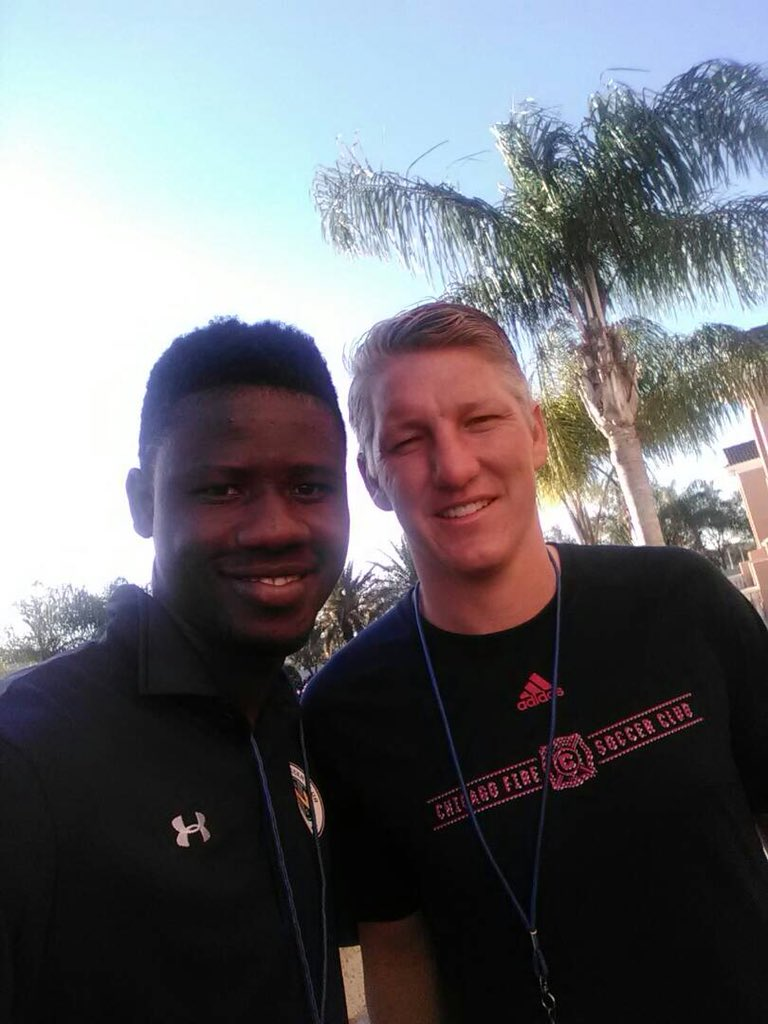 US-based striker Ropapa Mensah delighted to meet Germany legend Bastian Schweinsteiger