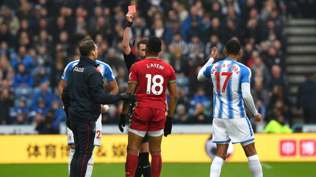Jordan Ayew: Swansea City topscorer receives fastest red card of the season