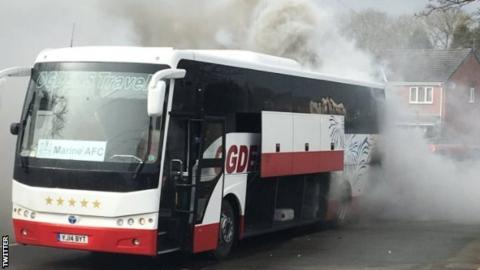 Team bus catches fire on way to match