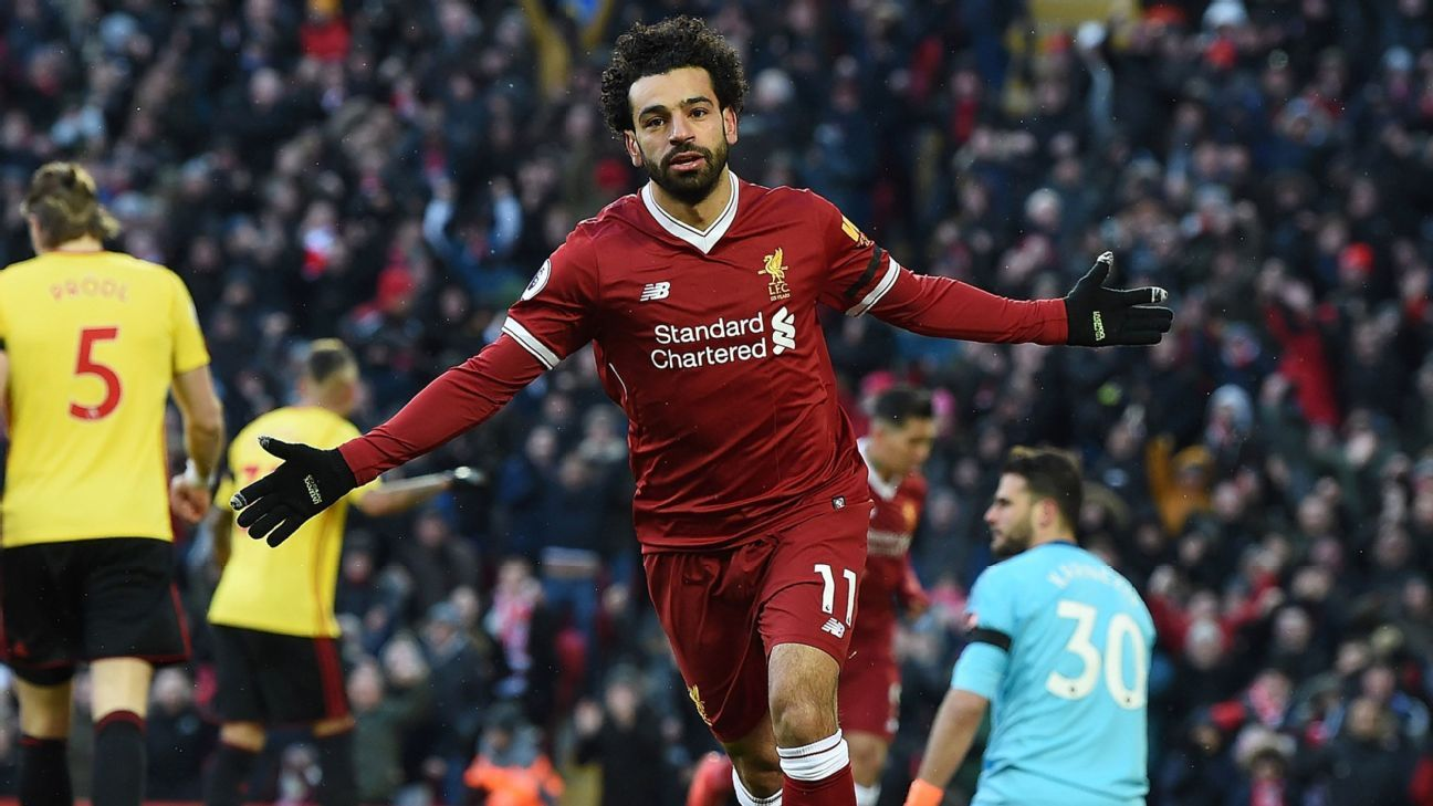 Record-breaker Mohamed Salah bags four, Liverpool run riot in rout of Watford