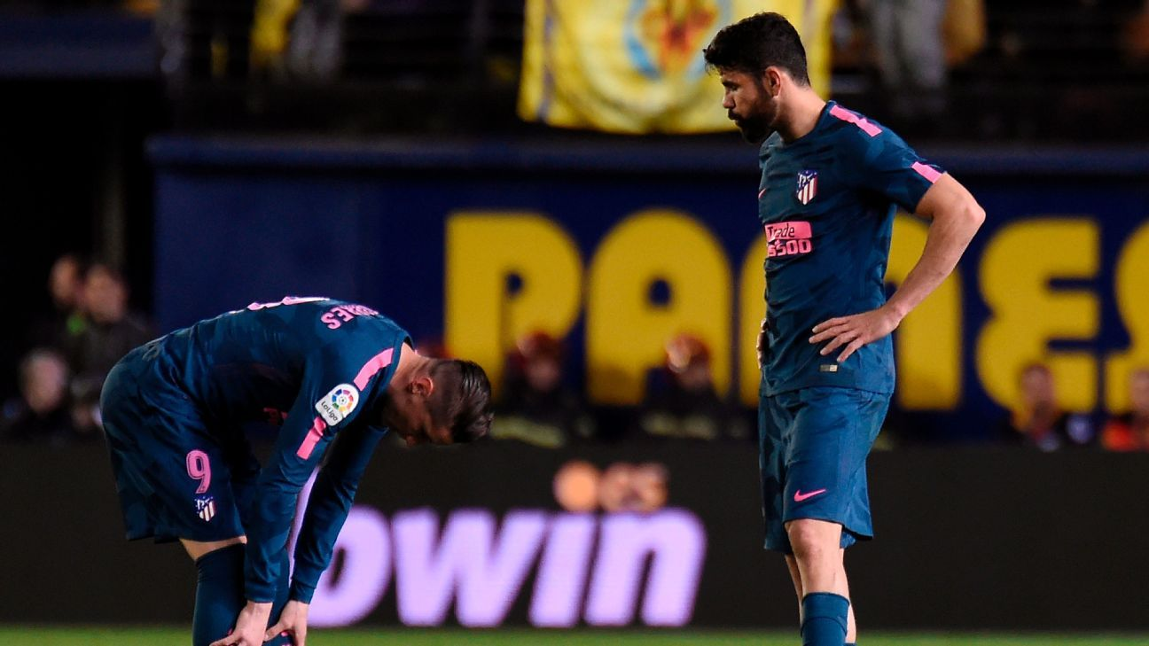 Angel Correa off his game, Vitolo sent off as Atletico crumble late at Villarreal