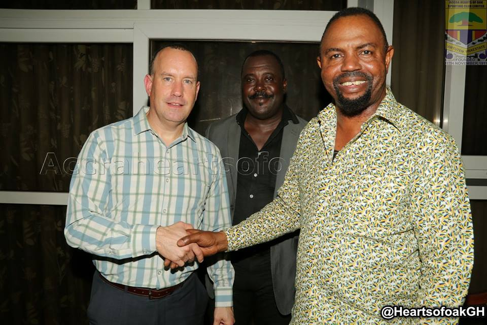 Hearts of Oak CEO Mark Noonan congratulates team after Dwarfs win