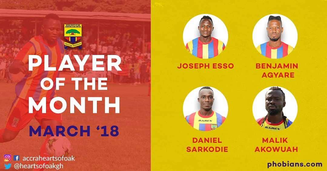 Hearts of Oak reveal nominees for player of the month award