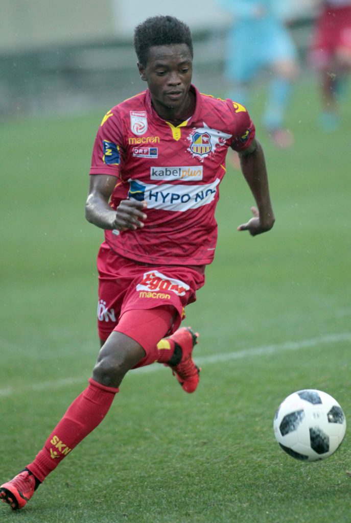 Ghanaian forward David Atanga scores in St Polten's 2-1 defeat to Admira in Austrian Bundesliga