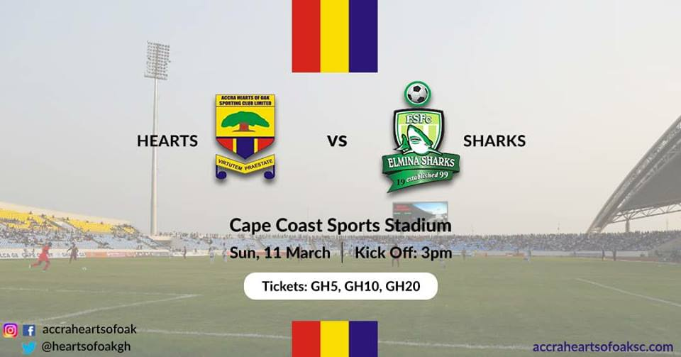 Hearts of Oak to play Elmina Sharks on Sunday at adopted 'Cape Coast Stadium'