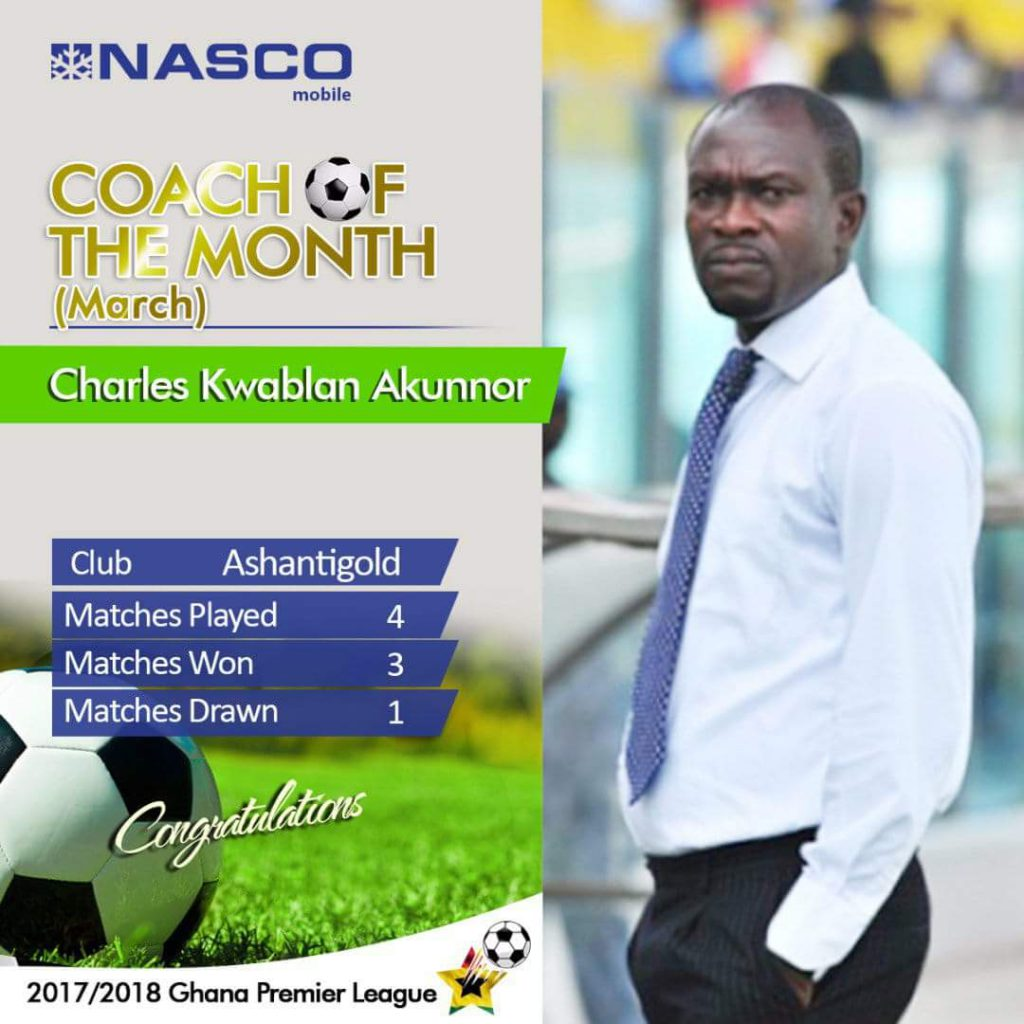 C.K. Akonnor and Aminu Mohammed are NASCO coach and player of the month of March