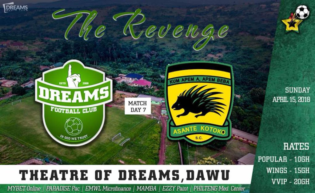 RE-LIVE: Dreams FC 1-0 Asante Kotoko and updates from other league centers - 2017/18 Ghana Premier League