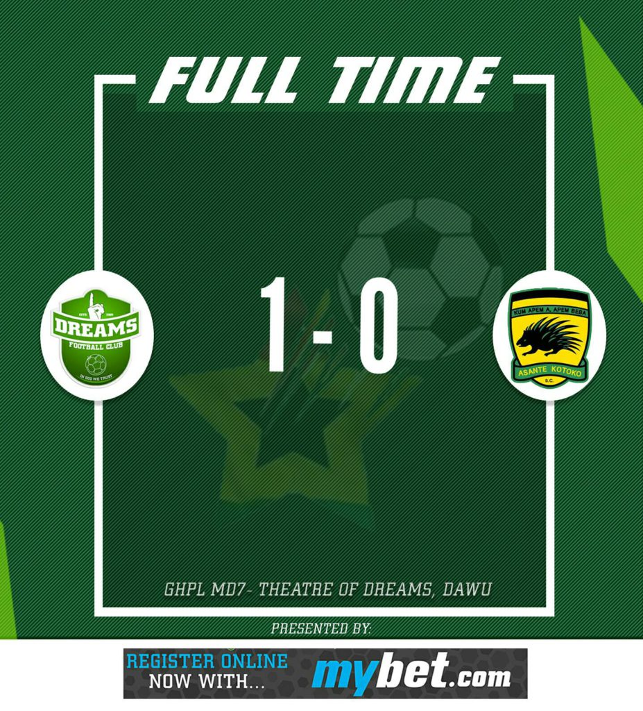 Match Report: Dreams FC 1-0 Asante Kotoko - Dwubeng strikes late to leave Porcupine Warriors wet