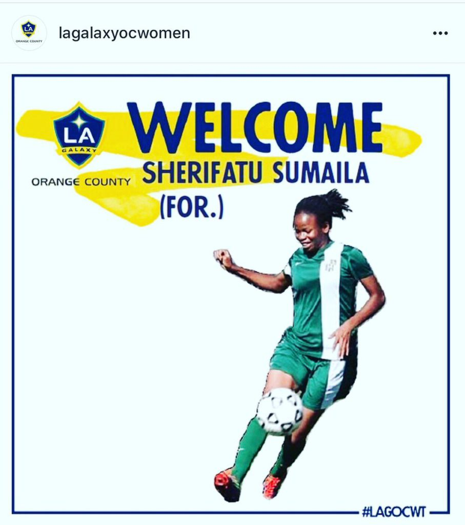 Ghanaian female striker Sherifatu Sumaila expresses her readiness for LA Galaxy County challenge