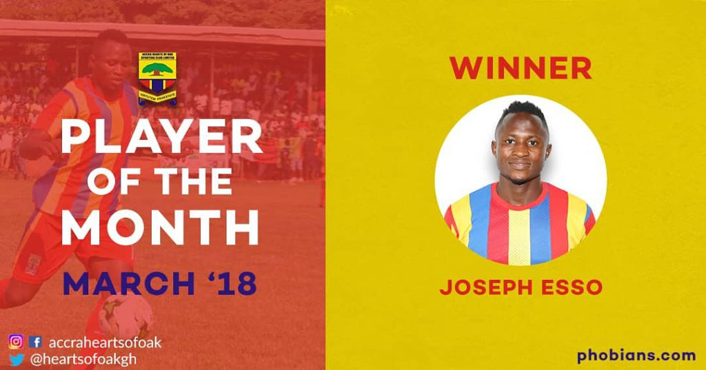 Joseph Esso wins Hearts' Player of the Month for March