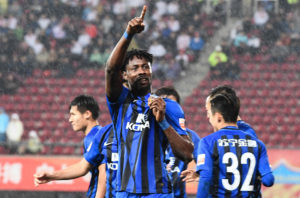 Richmond Boakye-Yiadom scores as Jiangsu Suning batter Guizhou Zhicheng in Chinese league