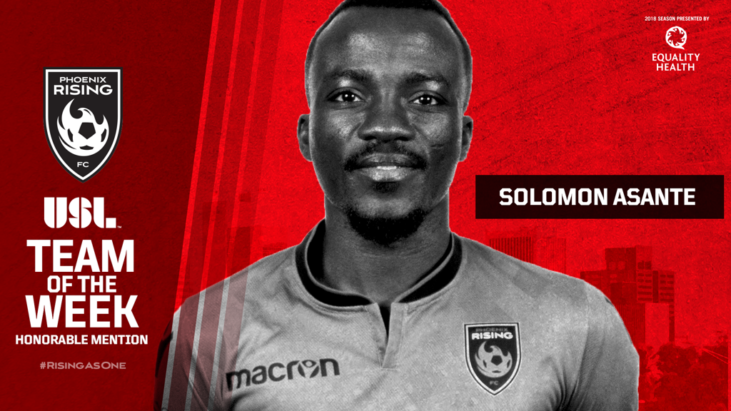 Solomon Asante named in American USL Team of the Week