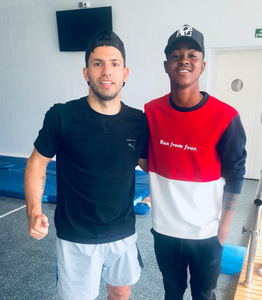 Injured Aminu Mohammed meets up with Manchester City icon Sergio Aguero as both receive treatments in Spain