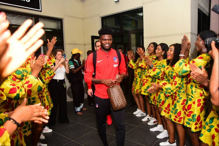 Thomas Partey arrives in Nigeria with Atletico Madrid to face Super Eagles today
