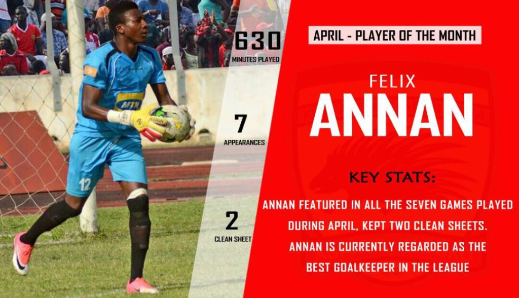 Goalkeeper Felix Annan wins second successive Asante Kotoko Player of the Month award
