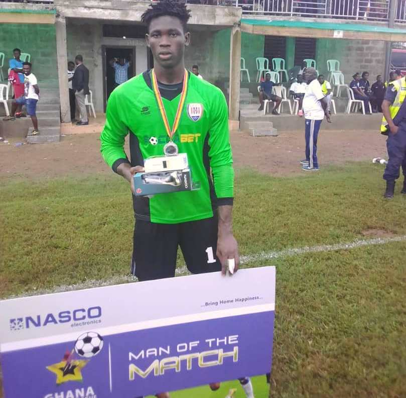 Inter Allies goalie Saeed Salifu perfumes another sparkling form to win Man of the Match award in Karela defeat