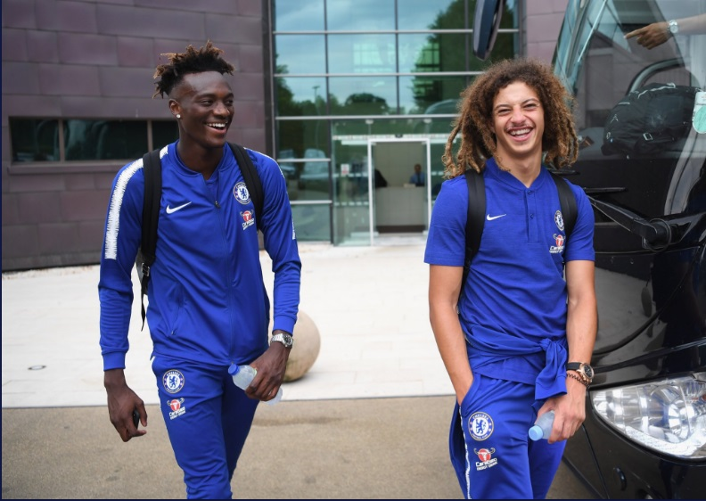 WATCH VIDEO: Ghanaian duo Ethan Ampadu and Hudson-Odoi join Chelsea bus for preseason