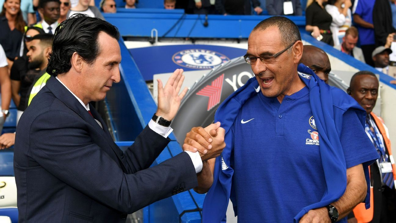 Chelsea's Maurizio Sarri and Arsenal's Unai Emery off to vastly different starts in race for top four