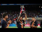 Leo Messi presents the Spanish Super Cup to Camp Nou