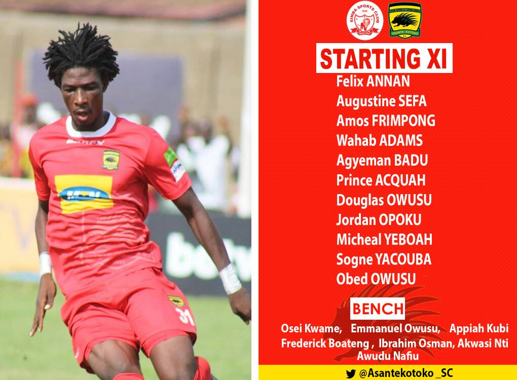 Kotoko Coach Paa Kwasi Fabin names starting XI against Simba FC