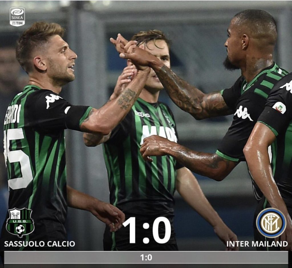 "Kevin Prince Boateng ""proud"" of his teammates in Sassuolo's win over Inter in serie A opener"