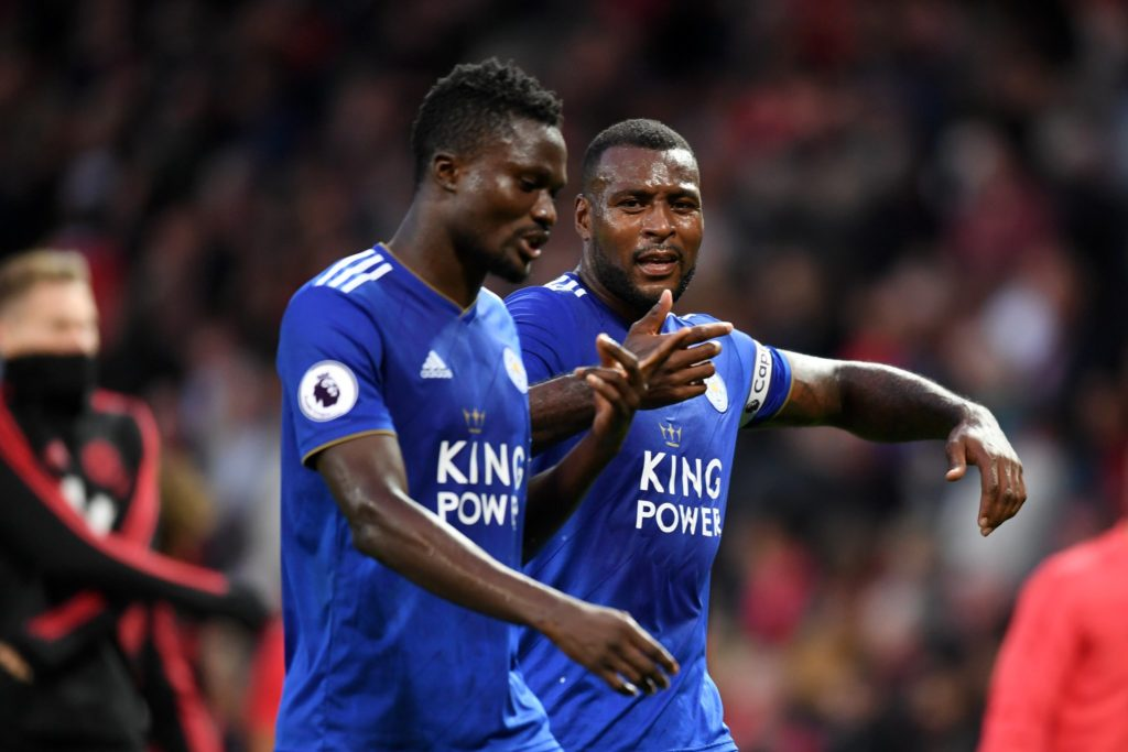 Leicester captain remonstrates to Amartey after the goal was scored