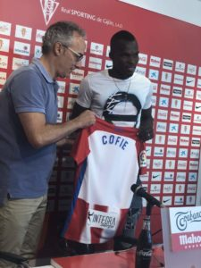 PHOTOS: Ghanaian midfielder Isaac Cofie unveiled by Spanish side Sporting Gijon