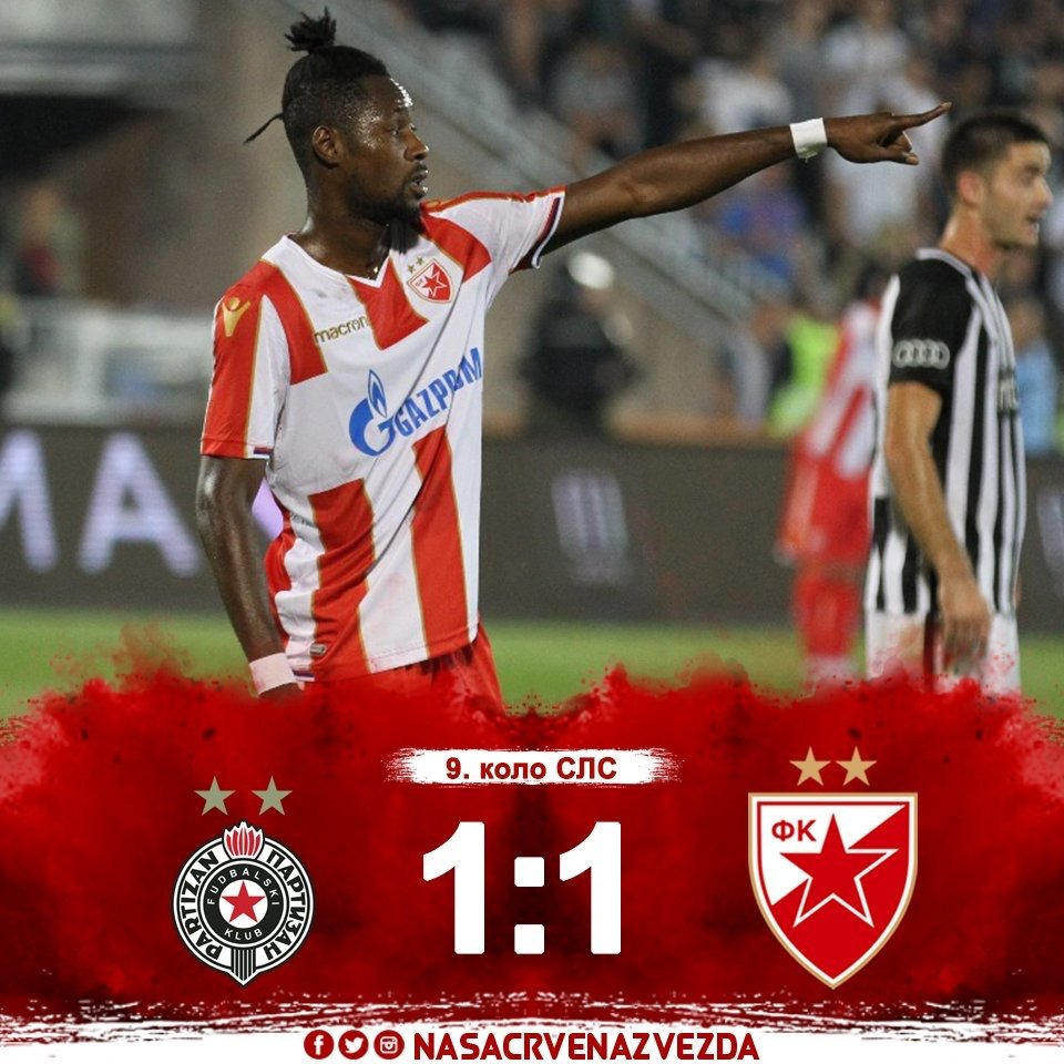 Richmond Boakye strikes equalizer for Red Star Belgrade in draw at Partizan in 'The Eternal Derby'