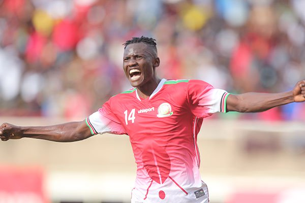 Harambee Stars striker Michael Olunga celebrates Kenya's goal against Ghana during their 2019 Africa Cup of Nations Group