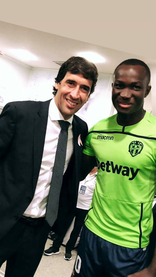 Raphael Dwamena meets legendary Real Madrid striker Raul Gonzalez