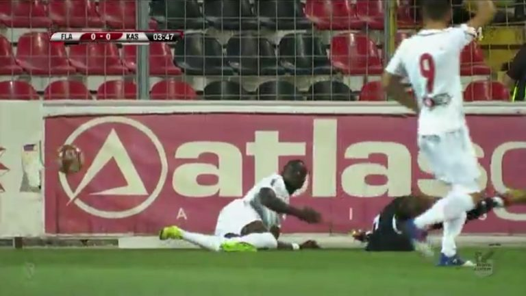 Flamurtari FC striker Charles Atsina issues apology to KS Kastrioti's defender Cristian Sirghi over reckless tackle in Romanian lower-tier league