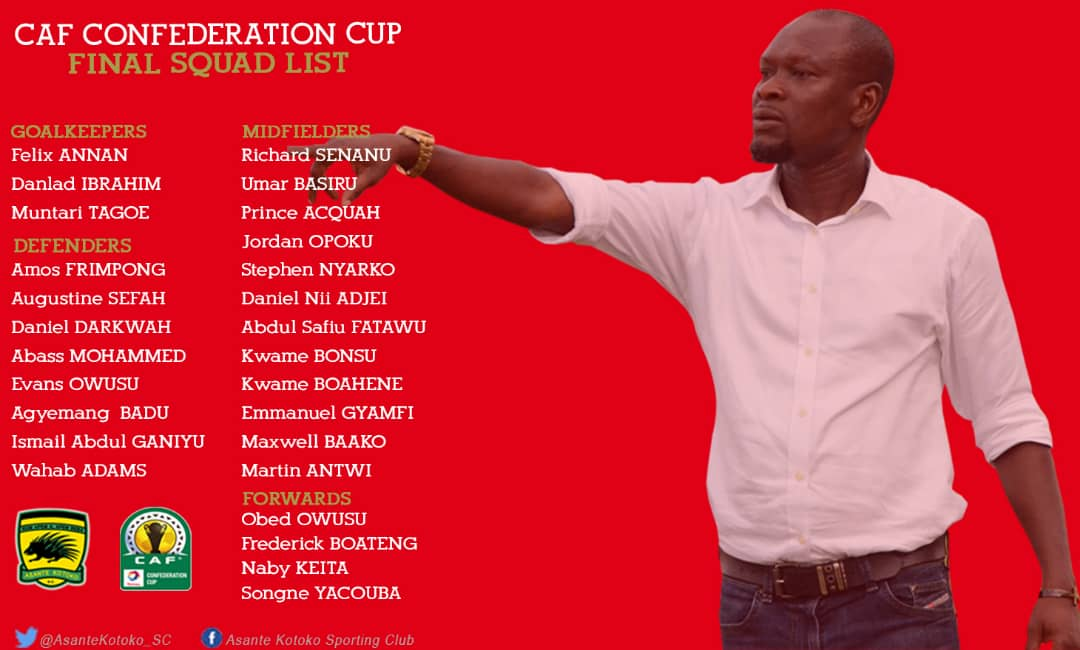 Asante Kotoko submit final squad for Confederation Cup; Daniel Nii Adjei and Stephen Nyarko added, Yaw Frimpong axed