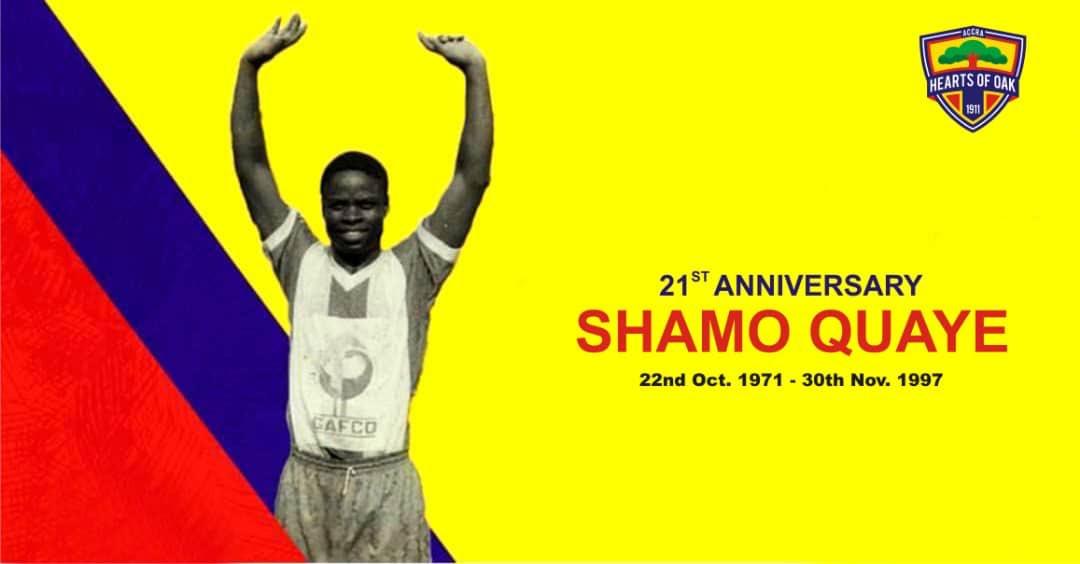 Hearts celebrates 21-years passing of club legend Shamo Quaye