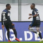 Christopher Antwi-Adjei combines with Tekpetey to score consolation for SC Paderborn 07 in defeat against FC Erzgebirge Aue