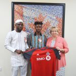 Toronto FC II midfielder Gideon Waja donates signed jersey to Canadian High Commission for charity