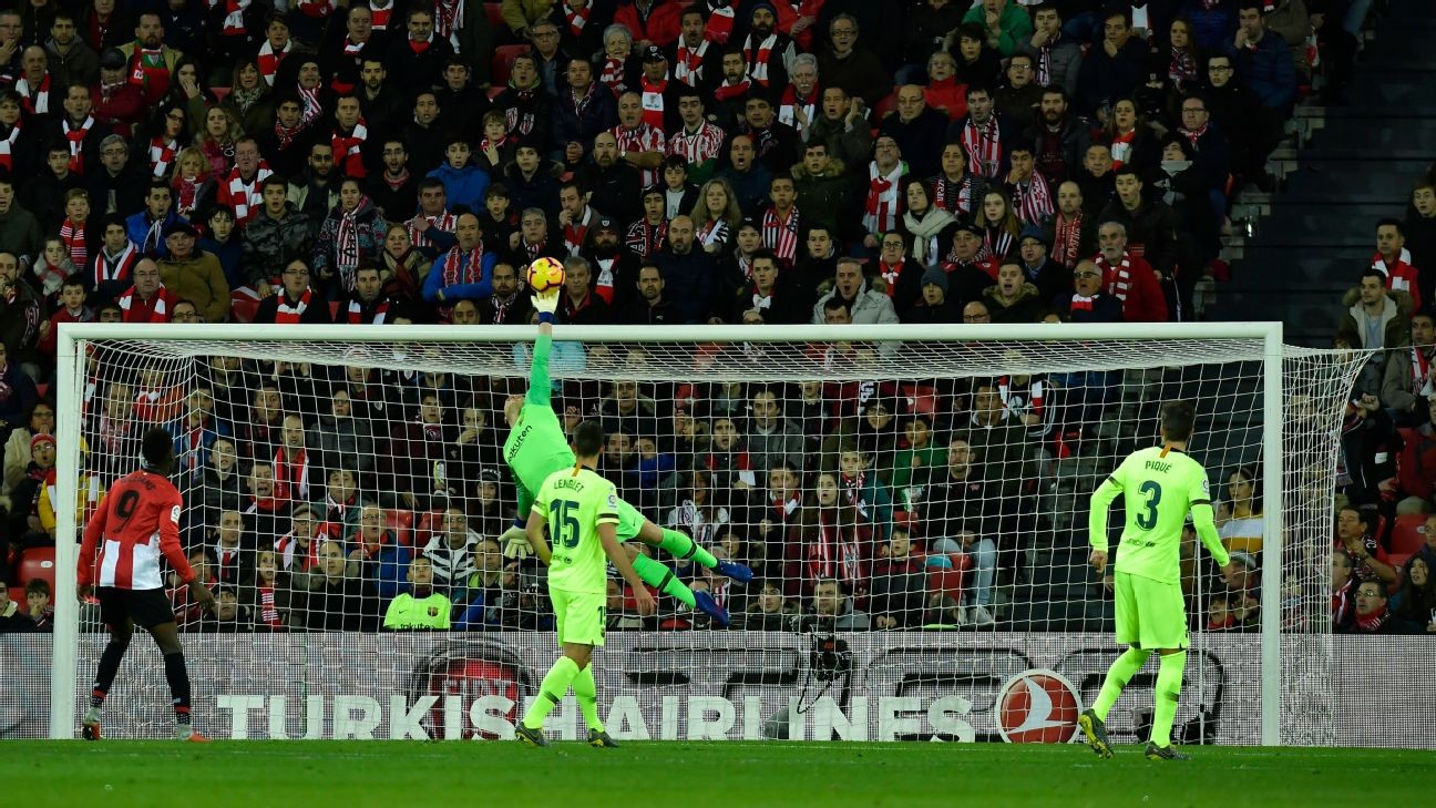 Barcelona saved by 9/10 Ter Stegen in Bilbao as Suarez struggles