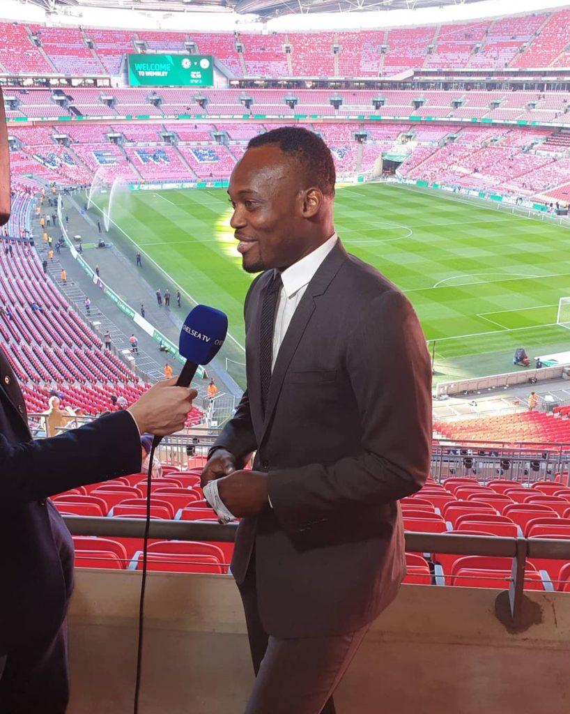 Michael Essien enjoys punditry during Chelsea-Manchester City Caraboa Cup final