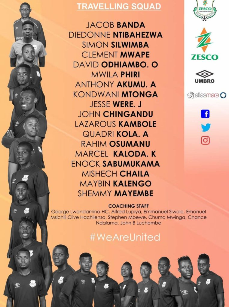 CAF Confederation Cup: Zesco United name squad for Kotoko clash