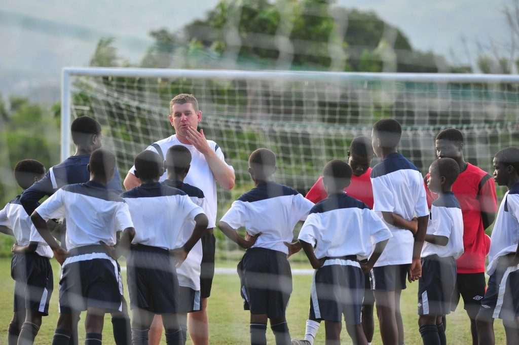 Tom Vernon addressing kids at the Right to Dream Academy in Ghana