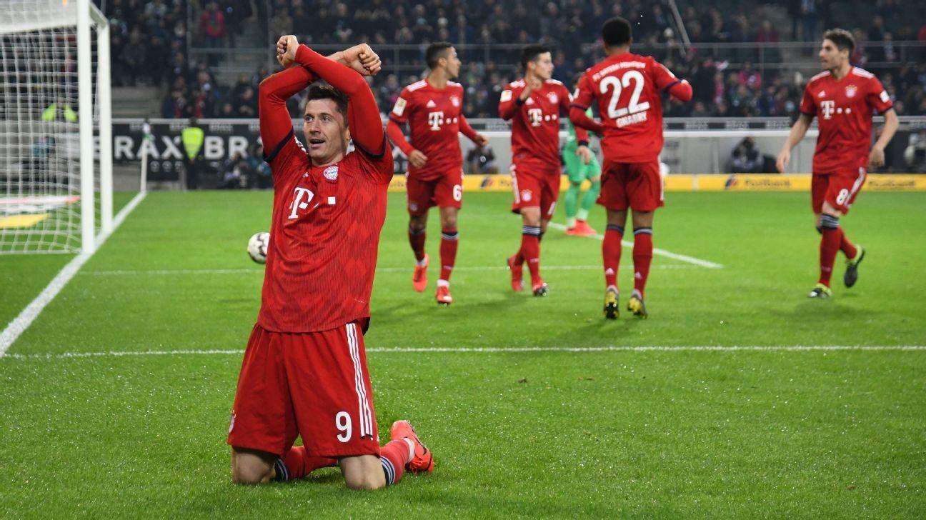 Bayern crush Gladbach to join Dortmund at top of Bundesliga table