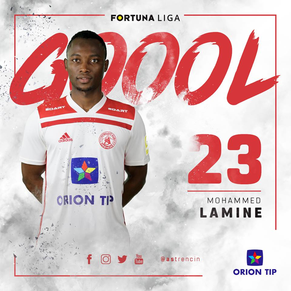 Ghana U20 midfielder Mohammed Lamine scores debut goal for Trencin in Slovakian league draw at home