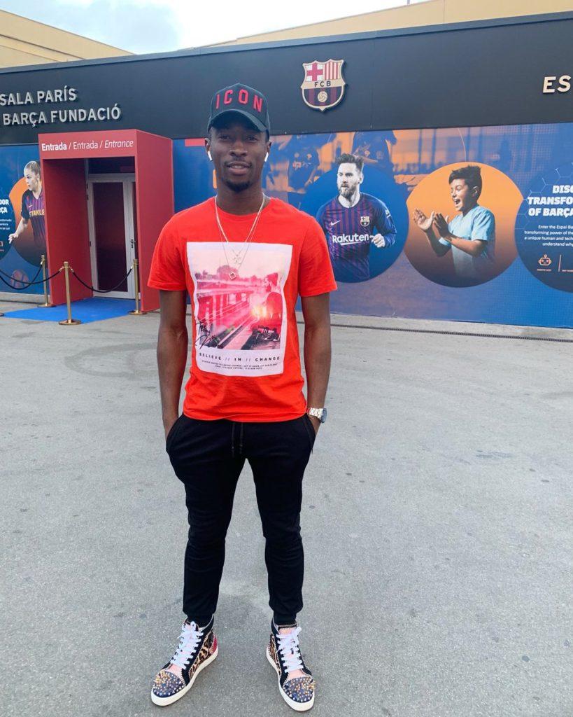 Ghanaian forward Karim Sadat watch Barcelona thrash Lyon in UEFA Champions League