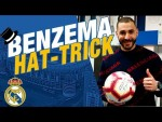 Who did KARIM BENZEMA give his HAT-TRICK ball to?