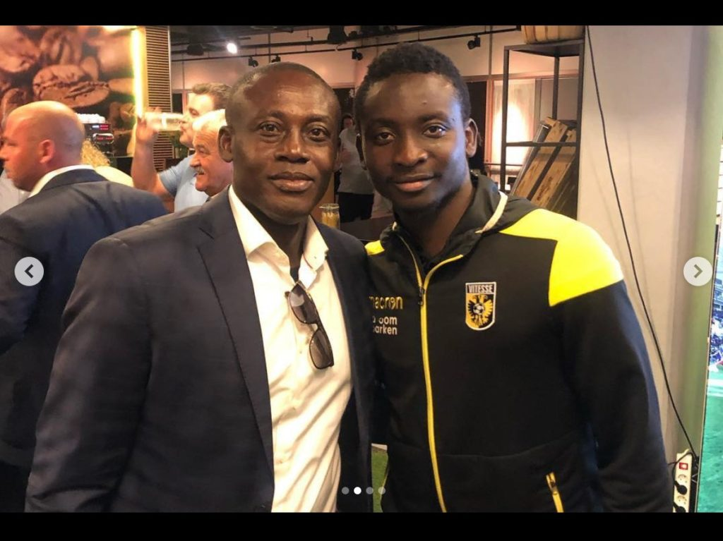 Former Kotoko coach Michael Osei meets Dauda Mohammed after sparkling for Vitesse Arnhem against PEC Zwolle