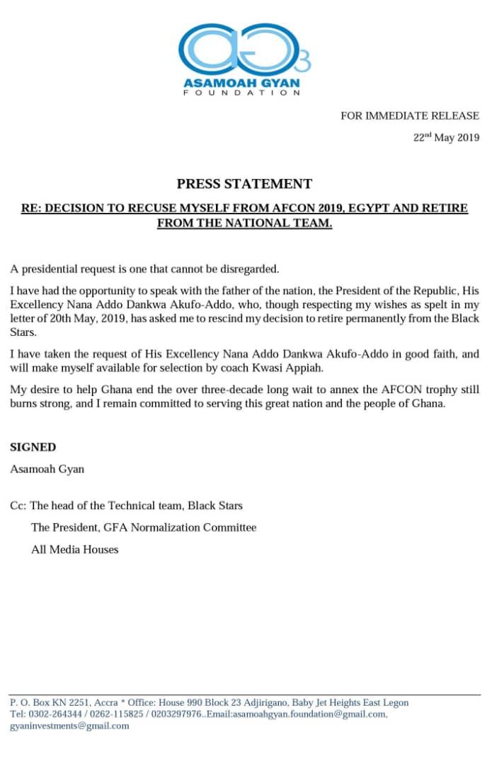 Asamoah Gyan's statement